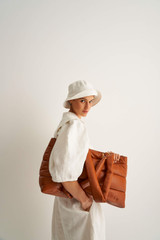 Oroton Luis Large Tote in Rich Cognac and Smooth Leather for female