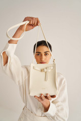 Oroton Margot Tiny Bucket Bag in Eggshell and Pebble Leather for female