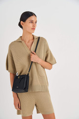 Oroton Margot Tiny Bucket Bag in Black and Pebble Leather for female