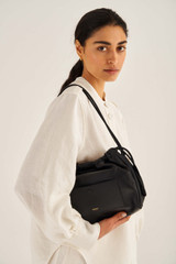 Oroton Lilia Day Bag in Black and Smooth Leather for female