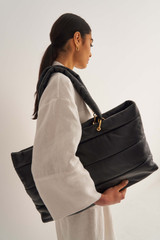 Oroton Luis Large Tote in Black and Smooth Leather for female
