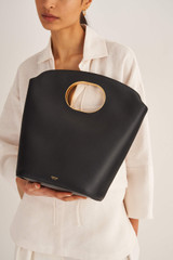 Oroton Lloyd Bucket Bag in Black and Pebble Leather for female