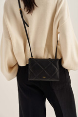 Oroton Muse Quilting Double Zip Crossbody in Black and Smooth Leather for female