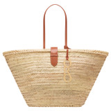 Oroton Madison Large Tote in Natural/Brandy and Straw/Smooth Leather Trims for female
