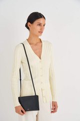 Oroton Muse Double Zip Crossbody in Black and Saffiano / Smooth Leather for female