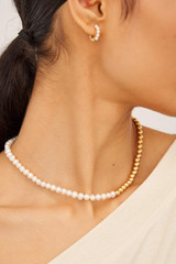 Oroton Blair 6MM Pearl Necklace in Worn Gold/White and Brass Based Metal With Precious Metal Plating/ Fresh Water Pearls for female