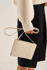 Oroton Muse Quilting Double Zip Crossbody in Ecru and Smooth Leather for female