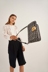 Oroton Savin Texture Day Bag in Black And White Texture and Snake Embossed Leather for female