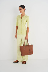 Oroton Margot Medium Zip Tote in Whiskey and Pebble Leather for female