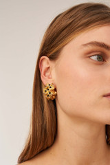 Oroton Harlow Hoops in Worn Gold and Brass Based Metal With Precious Metal Plating/Glass Bead for female