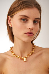 Oroton Evie Necklace in Worn Gold and Brass Based Metal With Precious Metal Plating for female