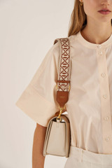 Oroton Logo Webbing Strap in Cognac/Ecru and Smooth Leather And Webbing for female