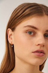 Oroton Esme Pearl Hoops in Gold/White and Sterling Silver Based Metal With Precious Metal Plating/Fresh Water Pearl for female