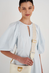 Oroton Logo Webbing Strap in Ecru/Clotted Cream and Smooth Leather And Webbing for female