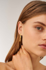 Oroton Lacey Link Earrings in Worn Gold and Brass Based Metal With Precious Metal Plating for female