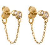 Oroton Esme Chain Drop Studs in Gold/White and Sterling Silver Based Metal With Precious Metal Plating/Cubic Zirconia Stone for female