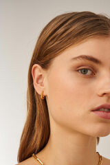 Oroton Lacey Small Hoops in Worn Gold and Brass Based Metal With Precious Metal Plating for female