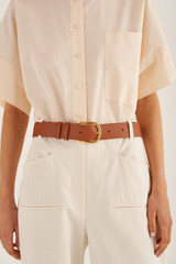 Oroton Ivy Belt in Brandy and Smooth Leather for female