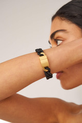 Oroton Noa Bracelet in Black/Worn Gold and Brass Based Metal With Precious Metal Plating/Powder Coating for female