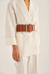 Oroton Cole Highwaisted Belt in Cognac and Smooth Leather for female