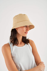 Oroton Cole Drill Bucket Hat in Dusty Peach and 100% Cotton for female