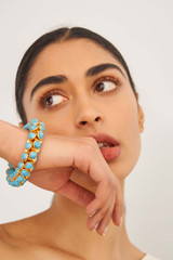 Oroton Arcadia Bracelet in Gold/Turquoise and Brass Based Metal With Precious Metal Plating/Reconstitute Stone for female