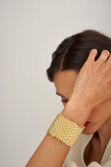 Oroton Olive Cuff in Worn Gold and Brass Based Metal With Precious Metal Plating for female