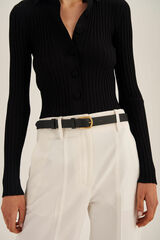 Oroton Ivy Slim Belt in Black and Smooth Leather for female