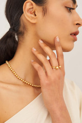 Oroton Blair Double Ring in Worn Gold and Brass Based Metal With Precious Metal Plating for female