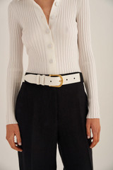 Oroton Ivy Belt in Pure White and Smooth Leather for female