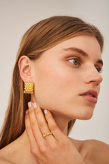 Oroton Olive Hoops in Worn Gold and Brass Based Metal With Precious Metal Plating for female