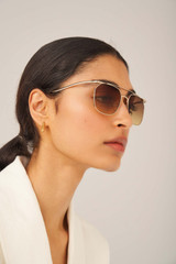 Oroton Briar Sunglasses in Gold/Brown and Acetate for female