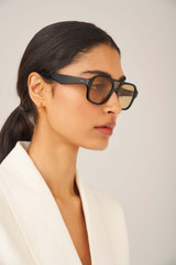 Oroton Perry Sunglasses in Black and Acetate for female