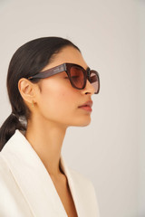 Oroton Arden Sunglasses in Chocolate and Acetate for female