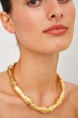 Oroton Bamboo Chunky Necklace in Gold and Brass Based Metal With Precious Metal Plating for female