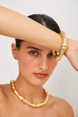 Oroton Bamboo Chunky Bangle in Gold and Brass Base Metal With Precious Metal Plating for female