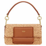Oroton Alva Collectable Small Day Bag in Natural/Brandy and Smooth Leather With Crochet Straw for female