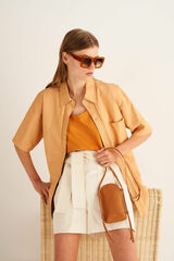 Oroton Nilson Phone Crossbody in Maple and Smooth Leather for female
