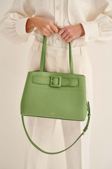 Oroton Avery Three Pocket Day Bag in Leaf and Soft Pebble Leather And Fused Pebble Look Faux Leather for female