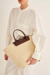 Oroton Claire XL Tote in Natural/Cognac and Paper Straw And Pebble Leather for female