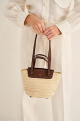 Oroton Claire Small Tote in Natural/Cognac and Paper Straw And Pebble Leather for female