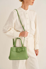 Oroton Avery Small Three Pocket Day Bag in Leaf and Soft Pebble Leather And Fused Pebble Look Faux Leather for female