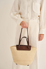 Oroton Claire Medium Tote in Natural/Cognac and Paper Straw And Pebble Leather for female