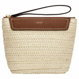Oroton Claire Large Beauty Case in Natural/Cognac and Paper Straw And Pebble Leather for female