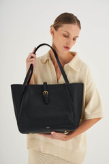 Oroton Dylan Medium Tote in Black and Pebble Leather for female
