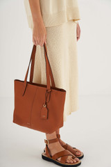 Oroton Lilly Small Shopper Tote in Cognac and Pebble Leather for female