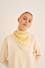 Oroton Elsie Scarf in Maize and 69% Cotton, 31% Silk for female
