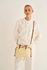 Oroton Harriet Mini Tote in Maize and Saffiano Leather With Smooth Leather Trim for female