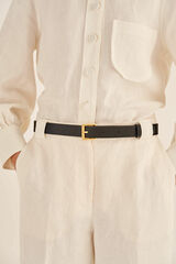 Oroton Dylan Jeans Belt in Black and Pebble Leather for female
