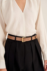 Oroton Dylan Jeans Belt in Tan and Pebble Leather for female
